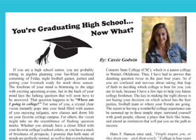 Your're Graduating High School...Now What?