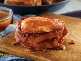 Bacon Pork Chops with BBQ Glaze