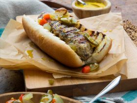 Pork Kebob Dog with Spicy Pickle Relish