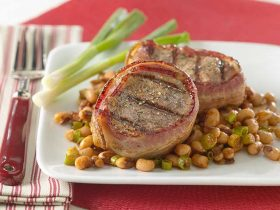 Bacon-Wrapped Pork Tenderloin with Texas Caviar