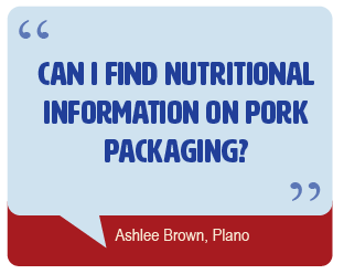 Can I find nutrition information on pork packaging?