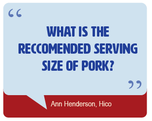 What is the recommended serving size for pork?